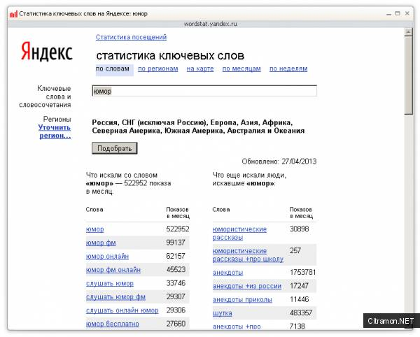 Статистика ключевых слов в Яндекс.Вордстат