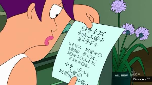 6 сезон 6 серия 10:16 Футурамы - Лила получила письмо на инопланетном языке