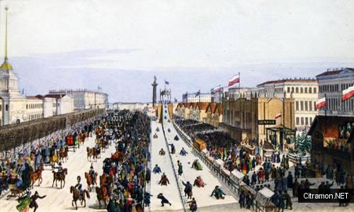 Ледяные горы в Санкт-Петербурге на Масленице (художник - К. П. Беггров)