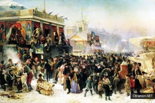Народное гулянье во время масленицы на Адмиралтейской площади в Петербурге (художник - К. Е. Маковский)