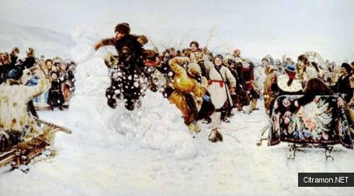 Взятие снежного городка (художник - В. И. Суриков)