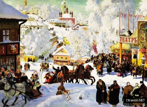 Масленичное катание (художник - Б. М. Кустодиев)