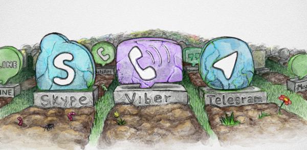 Кладбище мессенджеров, на котором обязательно должны оказаться Skype, Viber, WhatsApp, Hangouts, ooVoo, Apple iMessage, Telegram, Line, Facebook messenger и еще сотни мессенджеров, которым только предстоит выйти в ближайшее время