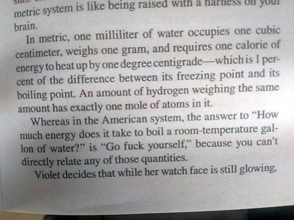 В метрической системе мер один миллилитр воды занимает один кубический сантиметр, весит один грамм, и потребуется одна калория энергии, чтобы нагреть его на один градус Цельсия, что составляет один процент разницы между точками ее замерзания и кипения