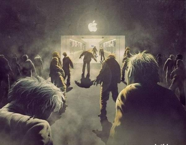 Яблоколюбы как зомби идут в эпл-стор